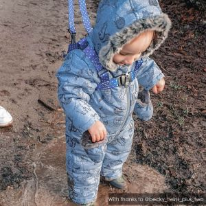 Muddy Puddles | Blue Stars ONK Baby Reins | @becky_twins_plus_two