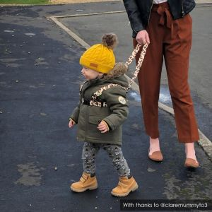 Street walking | Leopard Print Baby Reins ONK | @claremummyto3